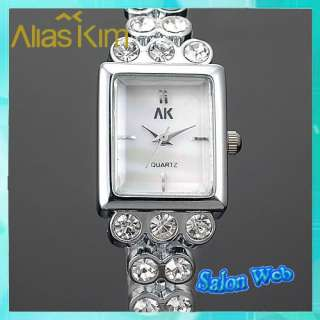 New Silver Unique Crystal Stone Band Ladies Quartz Wrist Watch