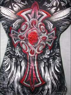 Wicked TRIBAL TATTOO Ruby Celtic Goth Cross Rhinestone Top Tee S
