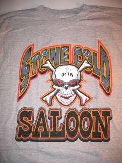 STONE COLD Steve Austin SALOON Grey T shirt Skull 316