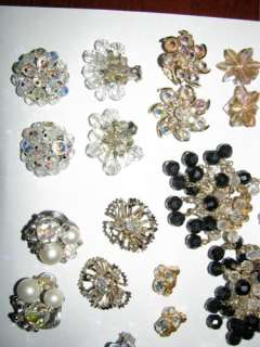 Lot 14 Vintage Austrian Crystal & Rhinestone Earrings Judy Lee