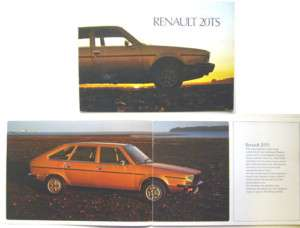 Renault 20 TS 1977 78 Original UK Market Sales Brochure