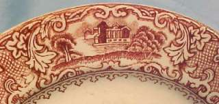 Lovely Antique CASTLES & CHALETS RED TRANSFERWARE PLATE