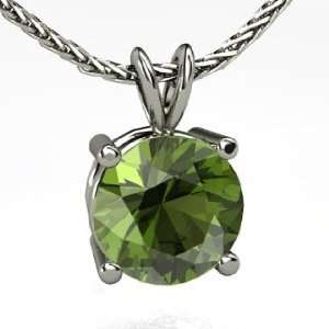 Large Gemstone Solitaire Pendant, Round Green Tourmaline
