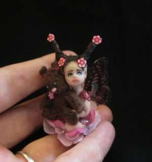 Ooak Cute Miniature bab Fairy & Teddy Art Doll Sculpture IADR