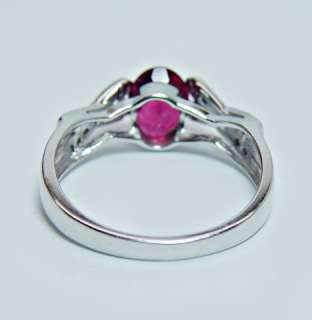 Estate Raspberry Pink Tourmaline Diamond 14K White Gold Ring