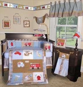 Baby Boutique   Fire Truck 13 PCS Boy Crib baby Bedding Set