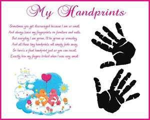 CARE BEARS Baby Girl Handprints Scrapbook Print Glossy