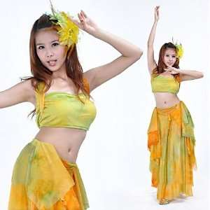 BellyRose Belly Dancing High Quality Tie dyed Costume Set  Top Bra