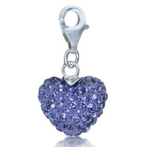 Nagara Crystal 925 Sterling Silver Heart Dangle Charm