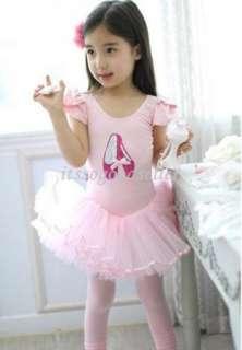 Short Sleeve Leotard Pink Ballet Dance Costume Tutu Dress 3 8Y