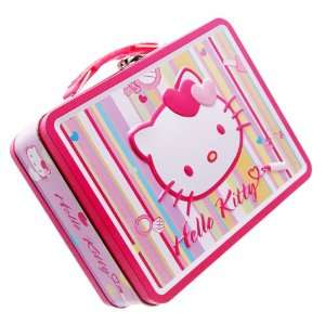 Hello Kitty Tin Lunch Box/Bag Stripes, Hello Kitty