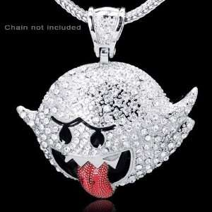 Super Mario Bros Boo Inspired Silver Plated Hip Hop Pendant Jewelry
