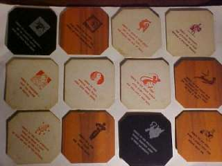 VTG MID CENTURY COASTER SET WITH 24 HUMOROUS TOASTS