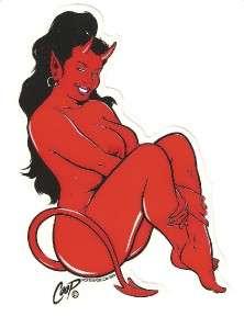 Full Color Sticker Coop Sitting Devil Girl