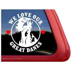 We Love Our Great Danes ~ Harlequin Great Dane Vinyl Window Auto Decal