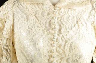 1930s Ivory Lace Bias Cut Wedding Dress w/ Satin Slip Size XS