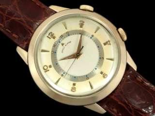 1956 JAEGER LECOULTRE VINTAGE Mens Memovox WRIST ALARM   10K Gold