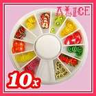 120pcs Yummy Fruit Cute 3D Fimo Slice Canes Sticker Nail Art