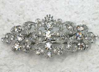 CLEAR HAIR BARRETTE FOR BRIDAL BRIDESMAID FLOWER GIRL WEDDING PROM E50