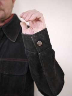 Vtg 70s William Barry Western Cowboy Suede Jacket L