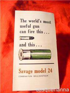 Vintage Savage model 24 shotgun rifle combo Pamphlet original   not a