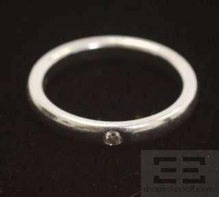 Tiffany & Co. Elsa Peretti Platinum & Diamond Stacking Ring Size 5.5