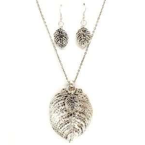 JEWELRY   Silver Tone Big Leaf Necklace & Earrings Set Jewelry