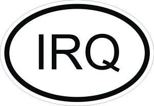 IRQ IRAQ COUNTRY CODE OVAL STICKER bumper decal car NEW