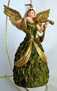 Angel playing Violin Ornament Music Hand Painted NEW