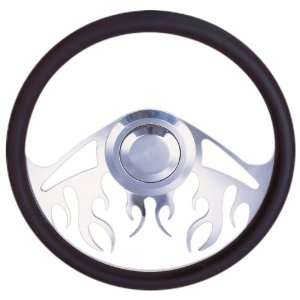 Black Blaze Billet Steering Wheel with Black Leather Ring Automotive