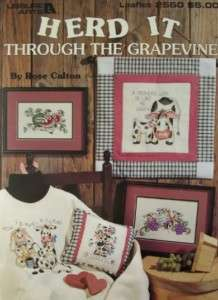 THE GRAPEVINE, Cross Stitch Book, COWS, 7 Designs by Rose Calton