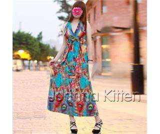 Long summer evening peacock feather print smock dress