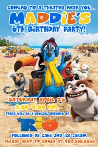 Custom Rio Movie Birthday Party Invitations