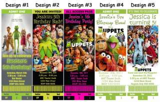 The Muppets Movie Kermit Frog Birthday Party Ticket Invitations