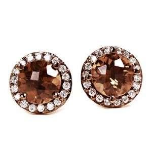 18k Blacken White Gold Smokey Quartz & Diamond Stud Earrings Ct.tw 3