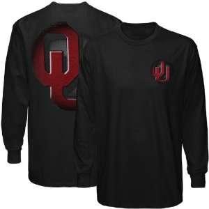 Oklahoma Sooners Black Blackout 2 sided Long Sleeve T