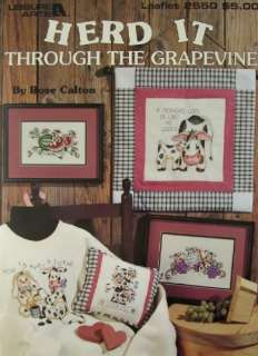 HERD IT THROUGH THE GRAPEVINE, Cross Stitch Book, COWS, 7 Designs by