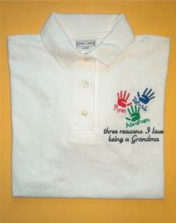 Personalized MOTHER MOMMY MOM GRANDMA Hands POLO Shirt