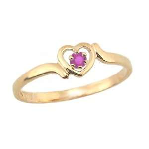 14K Gold 3 1/2 Childrens Genuine June Birthstone Ring   Rhodolite
