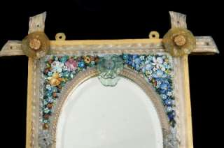 Victorian Large Micro Mosaic Glass Flower Floral Bevelled Wall Mirror