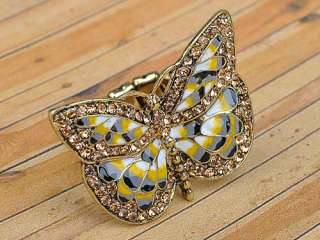 Big Antique Inspired Gold Tone Butterfly Wings Insect Crystal