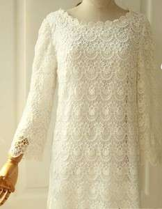 White Victorian thick long sleeves dress plus size big large