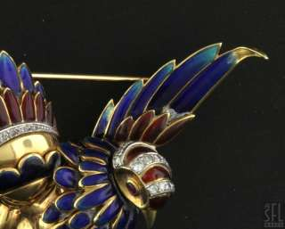 HEAVY 18K GOLD .34CT DIAMOND COLORFUL ENAMEL BIRD PIN/BROOCH