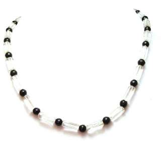 Vintage Necklace Jet Black Clear Rectangle Glass Jewelry 26 1/2 Long