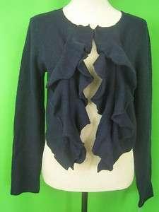 RALPH LAUREN BLACK LABEL Dark Navy Cashmere NEW Knit Ruffled Cardigan