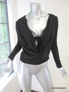 Valentino Black Long Sleeve Attached Lace Cami Top S