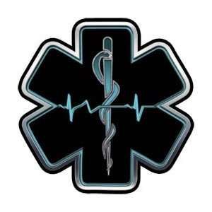 Aqua EMT EMS Star Of Life With Heartbeat   2 h
