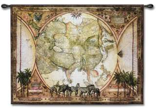 TROPIC OF CAPRICORN VINTAGE WORLD MAP ART WALL TAPESTRY