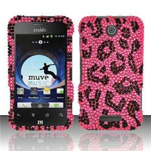 ZTE Score Crystal Diamond BLING Hard Case Phone Cover Hot Pink Leopard