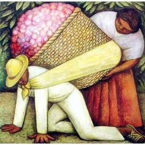 The Flower Carrier Diego Rivera Hand Painted Art